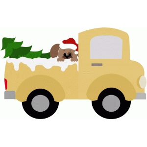 truck with christmas tree and dog
