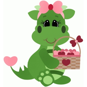 valentine dragon holding basket full of hearts