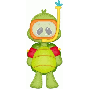 turtle w swim mask & floaties pnc