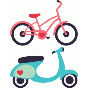 travel icons: bike & vespa
