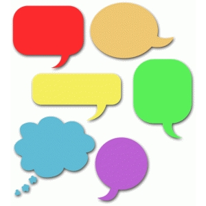 six speech bubbles