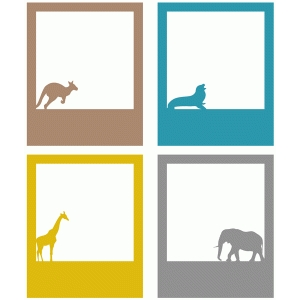 zoo animals polaroid frame set of 4