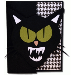 a2 scary cat shaped card