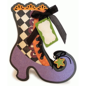 witch fancy shoe shaped large card