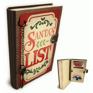 santa's list book shaped gift card holder