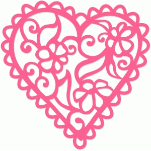 scalloped floral valentine heart