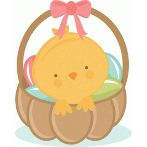 easter chick in basket