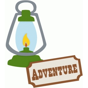 camping lantern and adventure sign