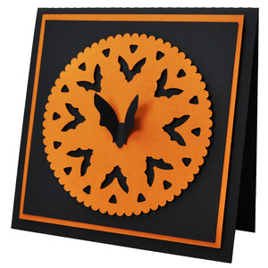 batty halloween doily card