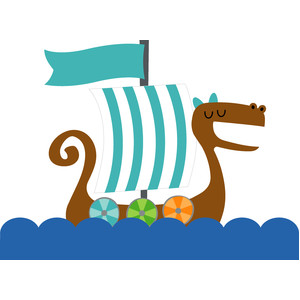 viking ship - dragon tails
