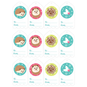 christmas hedgehog gift tags