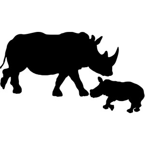 mother rhino with baby rhino silhouette