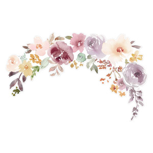 watercolor purple floral wreath