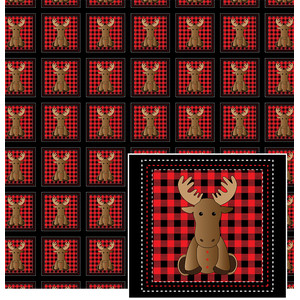 moose with buffalo plaid pattern