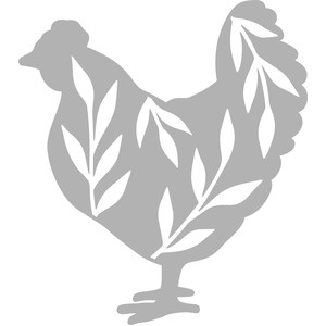 chicken silhouette with leaves