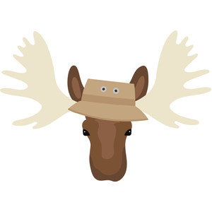moose head with fishing hat