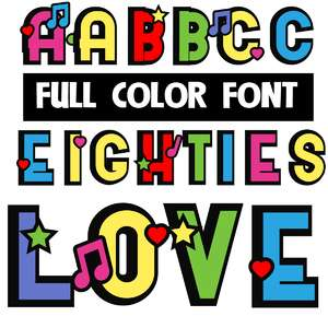 eighties love color font