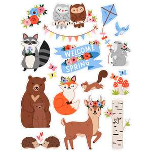 spring woodland stickers