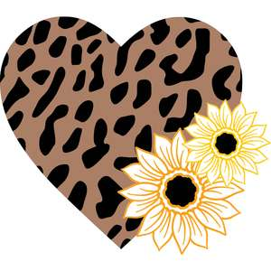leopard print heart sunflower