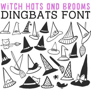 cg witch hats and brooms dingbats
