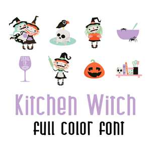 kitchen witch full color font