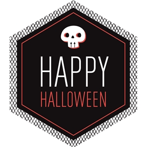 happy halloween skull label / tag