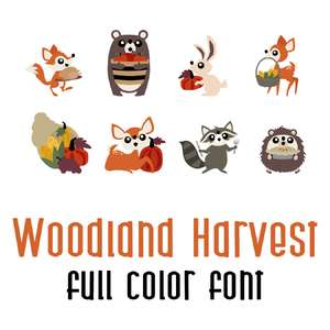 woodland harvest full color font