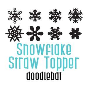 snowflake straw topper full color font