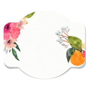 circular floral watercolor tag