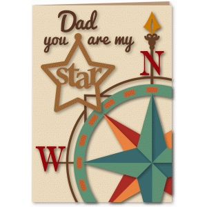 dad my star compass 5x7 card