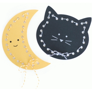 cat and moon lace-up cards