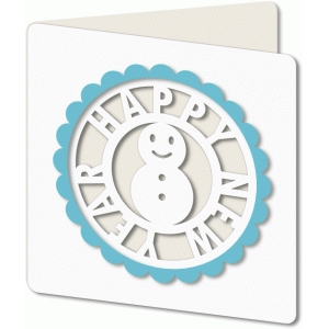 new year cutout snowman card