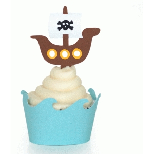pirate ship on waves cupcake wrapper