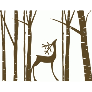 birch trees with deer looking up