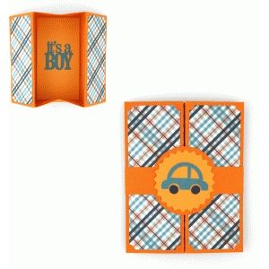 hidden box gatefold card baby boy