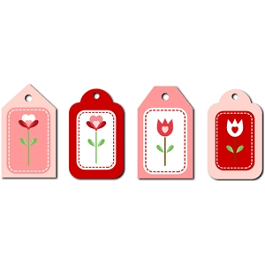 flowers & hearts gift tags