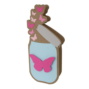 mason jar and flying butterflies card