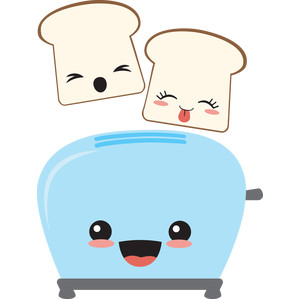 happy toaster and toast