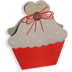 3d cupcake favor box - heart on top