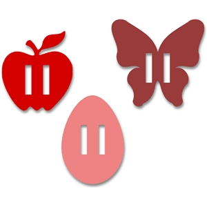 ribbon sliders set - egg - apple - butterfly