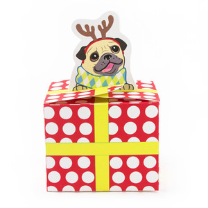 pug puppy christmas present box