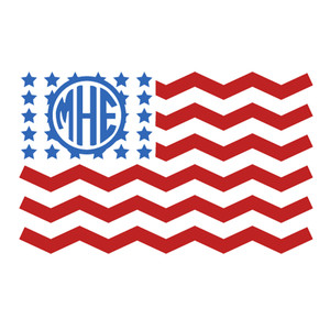 chevron flag monogram frame