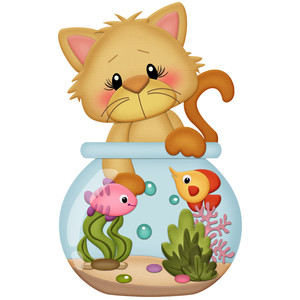 orange cat playing in fish bowl
