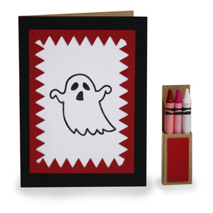 4 in x 5.5 in ghost coloring card and crayon box