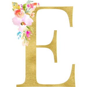 e gold and floral monogram
