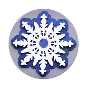 layered circle label with snowflake