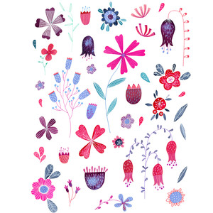 kennington flowers watercolor stickers