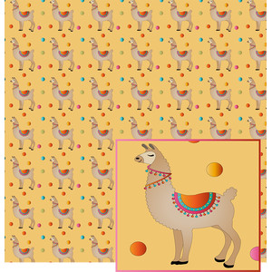 llama on gold pattern