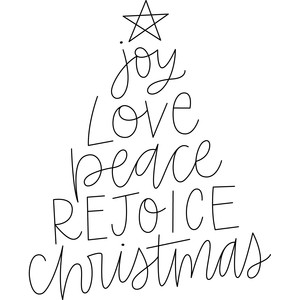 joy love peace christmas tree sketch