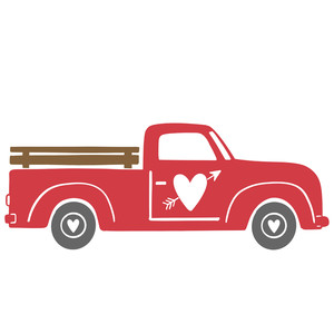 red truck arrow heart